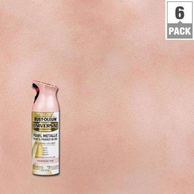 11 oz. All Surface Pearl Metallic Champagne Pink Spray Paint and Primer in One (6-Pack)
