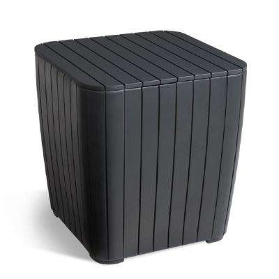 Luzon Rezolith Graphite Outdoor Side Table with Storage