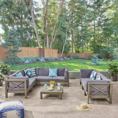 Hadlee Gray 9-Piece Wood Outdoor Sectional Sofa Set with Dark Gray Cushions