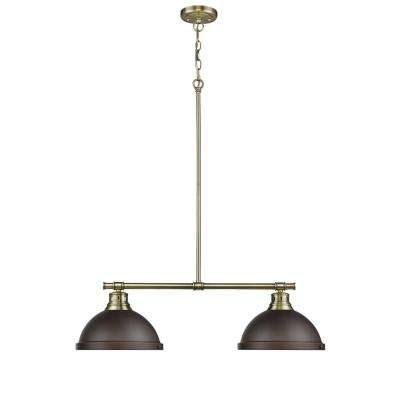 Duncan AB 2-Light Aged Brass Pendant with Rubbed Bronze Shades