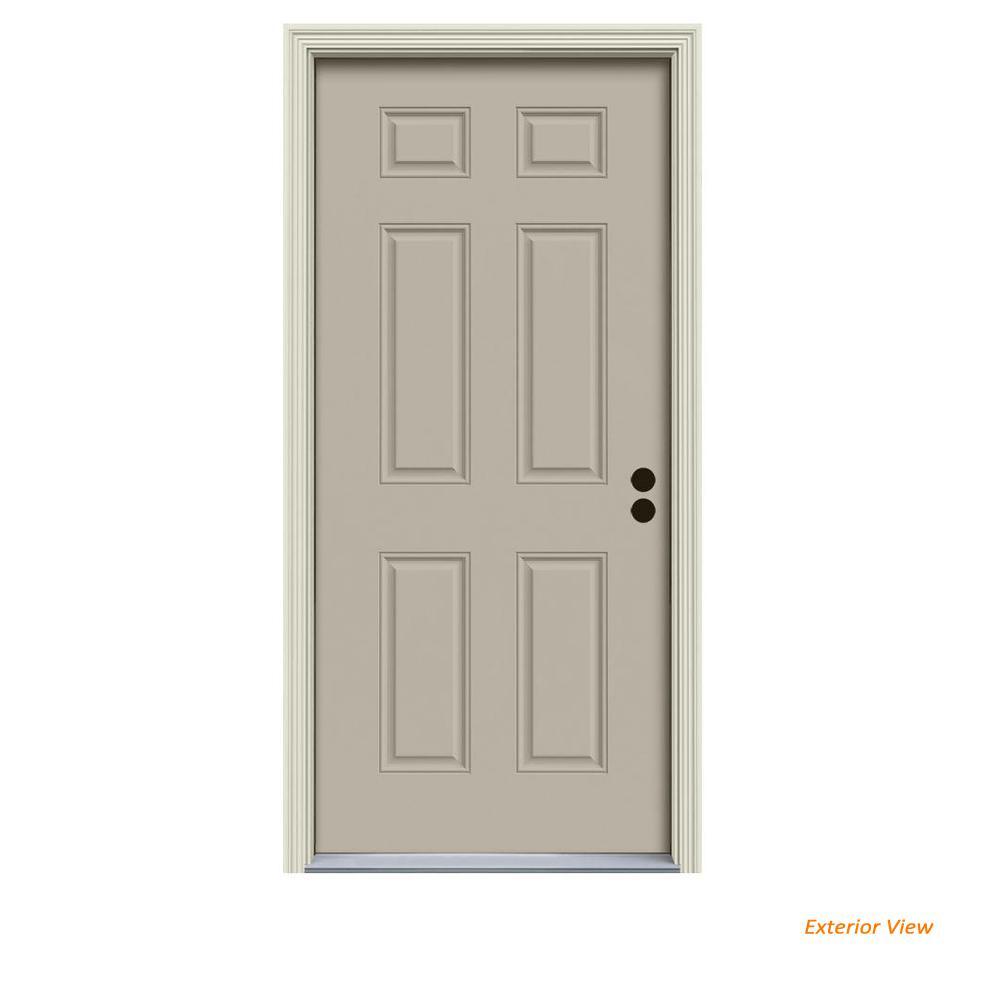 32 in. x 80 in. 6-Panel Desert Sand Painted Steel Prehung Left-Hand Inswing Front Door w/Brickmould