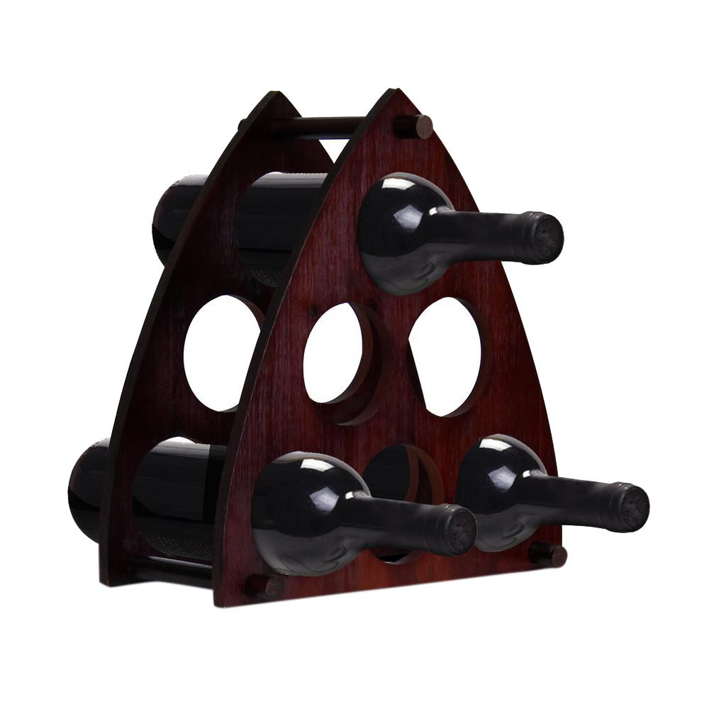 6 Bottle Dark Cherry Wine Rack