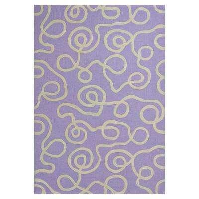 Squiggles Lilac/Ivory 3 ft. x 5 ft. Area Rug