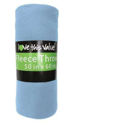 50 in. x 60 in. Light Blue Super Soft Fleece Throw Blanket