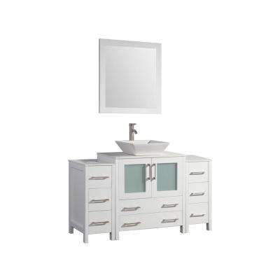 54 in. W x 18.5 in. D x 36 in. H Bathroom Vanity in White with Vanity Top White with Ceramic Single Basin and Mirror