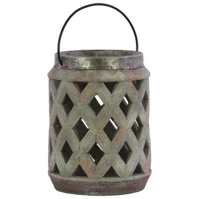 Gray Candle Cement Decorative Lantern