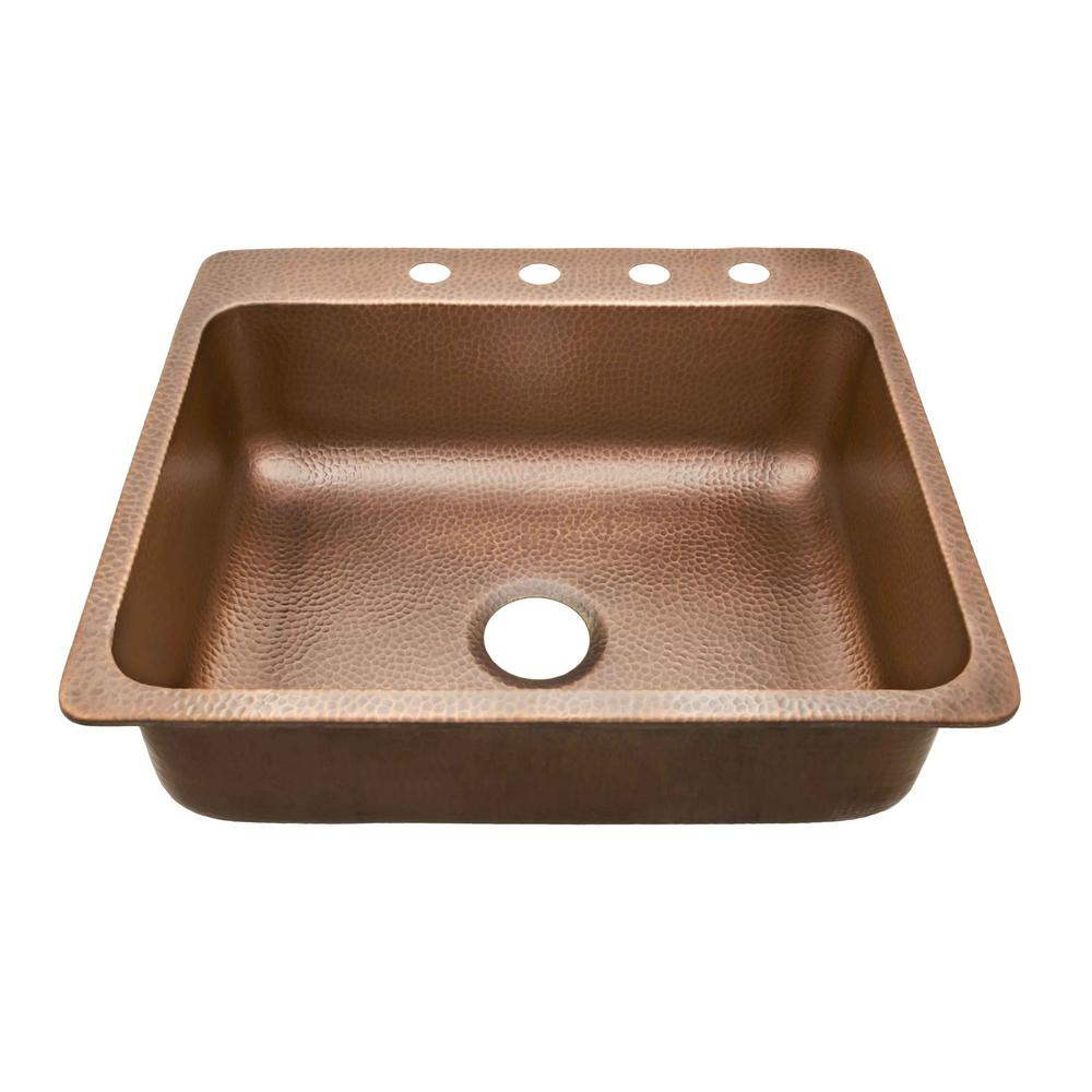 SINKOLOGY Rosa Drop-In Copper Sink 25 in. 4-Hole Single Bowl ...