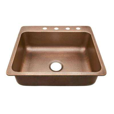 Rosa Drop-In Copper Sink 25 in. 4-Hole Single Bowl Copper Kitchen Sink in Antique Copper