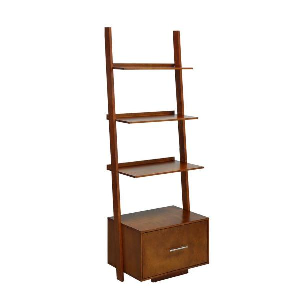 American Heritage 69 in. Cherry Wood 4 - -Shelf Ladder Bookcase with File Drawer