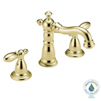 Victorian 8 in. Widespread 2-Handle Bathroom Faucet with Metal Drain Assembly in Polished Brass