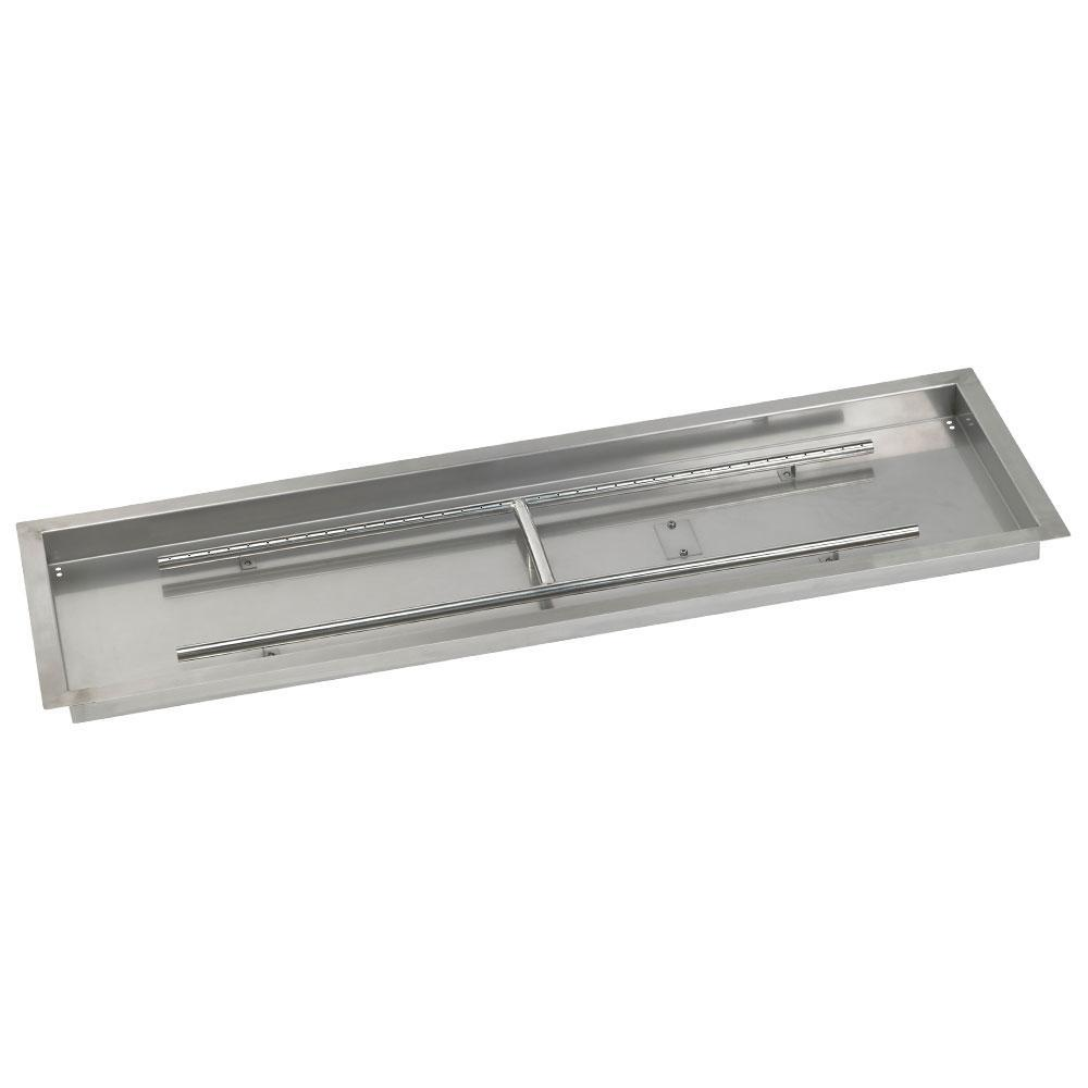 American Fire Glass 48 in. x 14 in. Stainless Steel Rectangular Drop-In Fire Pit Pan