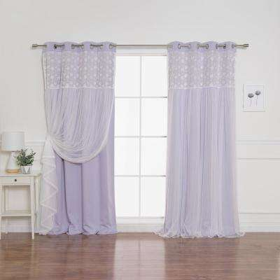 Lilac 96 in. L Irene Lace Overlay Blackout Curtain Panel (2-Pack)