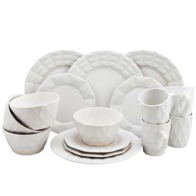 Retro Chic 16-Piece White Glazed Dinnerware Set