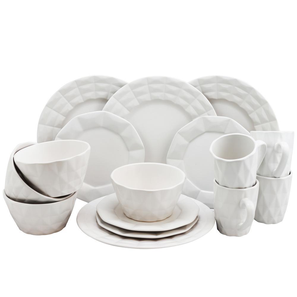 Elama Retro Chic 16-Piece White Glazed Dinnerware Set 985102843M