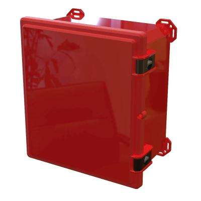 17.8 in. L x 16.3 in. W x 9.3 in. H Polycarbonate Red Hinged Top Cabinet Enclosure with Red Bottom