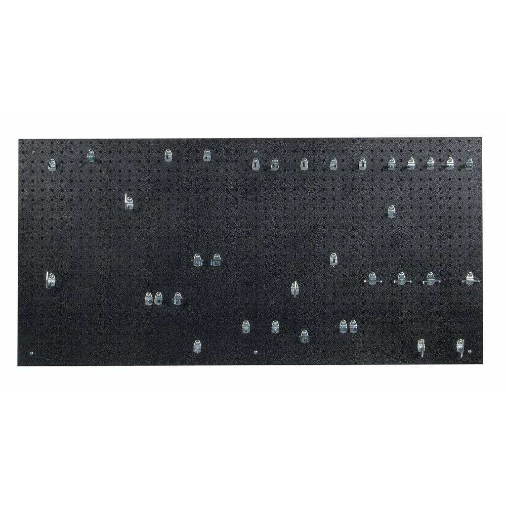 9/32 in. Black Polyethylene Matte Front Texture Pegboards with Locking Hook
