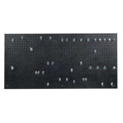 9/32 in. Black Polyethylene Matte Front Texture Pegboards with Locking Hook Assortment (36-Piece)