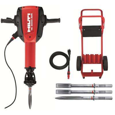 15 Amp 120-Volt 1-1/8 in. TE 3000-AVR Polygon Demolition Jack Hammer Concrete Breaker Kit with Trolley, Cord and Chisels