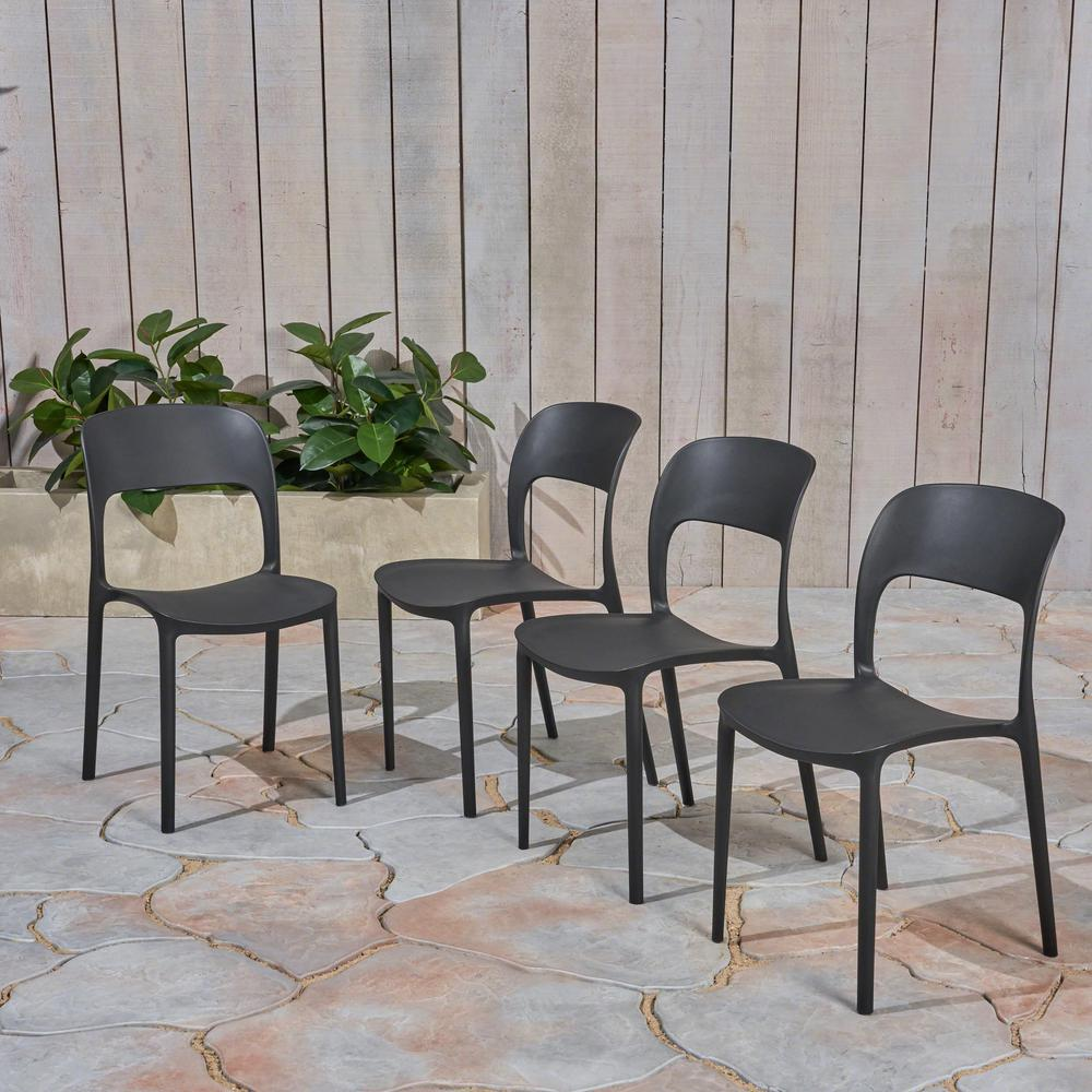 Katherina Black Armless Plastic Outdoor Dining Chairs (4-Pack)