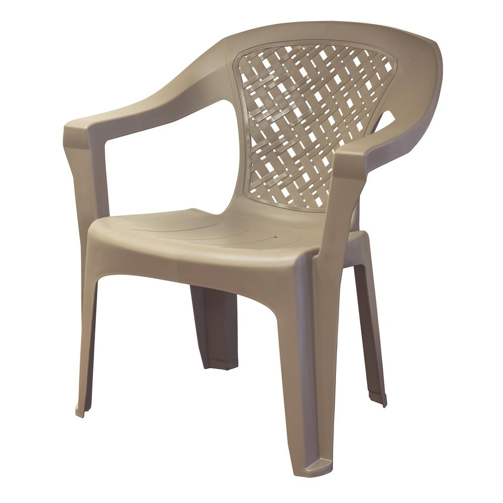 Big Easy Mushroom Woven Stack Resin Plastic Outdoor Dining Chair