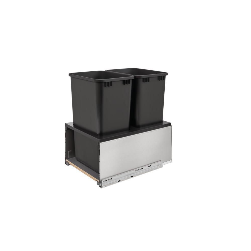 Rev-A-Shelf 50 Qt. Stainless Steel LEGRABOx and Black Double Rev-A-Shelf 50 Qt. Stainless Steel LEGRABOx and Black Double