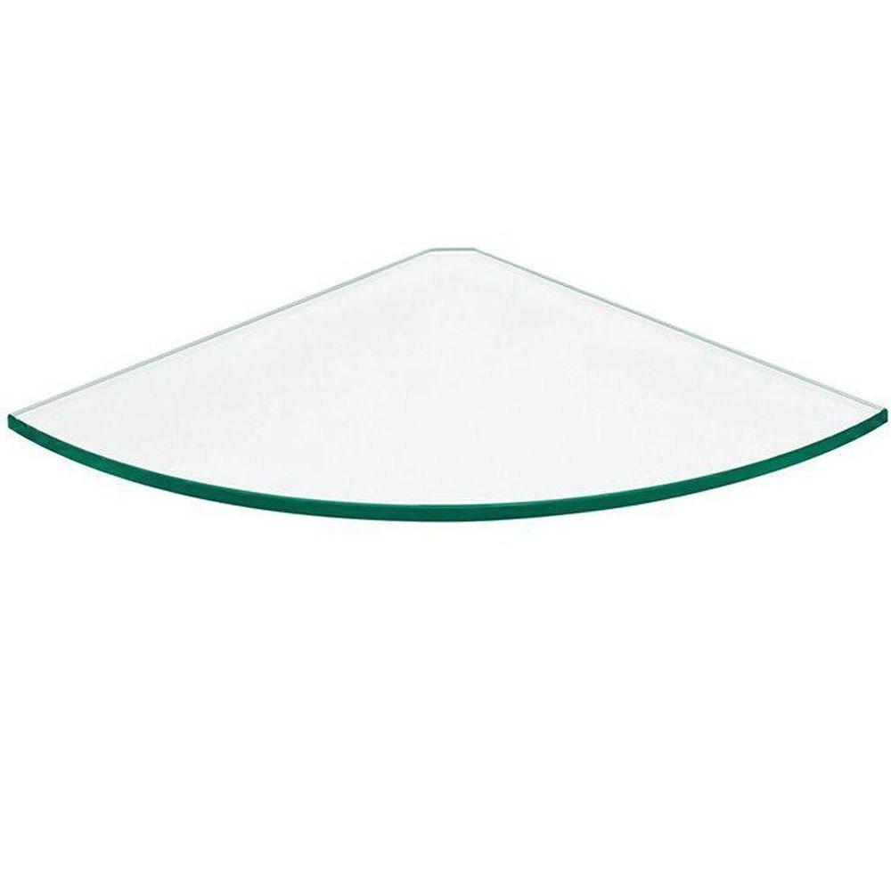 12 in. x 12 in. x 5/16 in. Glass Line Corner Shelf in Clear