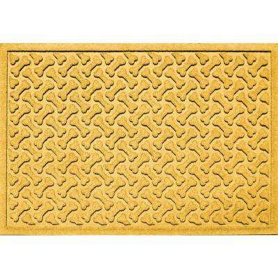Yellow 24 in. x 36 in. Dog Bone Repeat Polypropylene Pet Mat