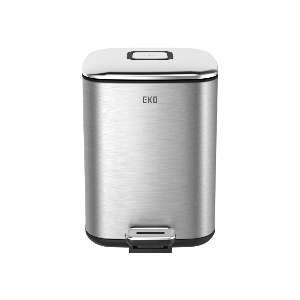 Soft Square Indoor Trash Can In Stainless 93880 1   The Home Depot