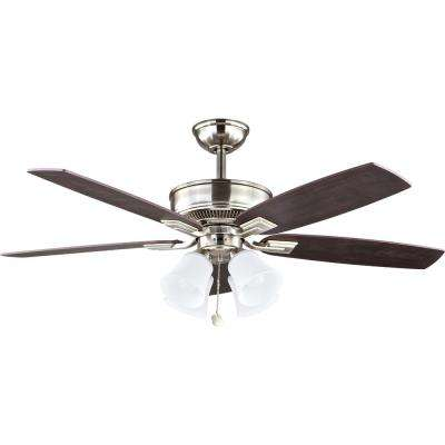 Devron 52 in. LED Indoor Brushed Nickel Ceiling Fan with Light Kit