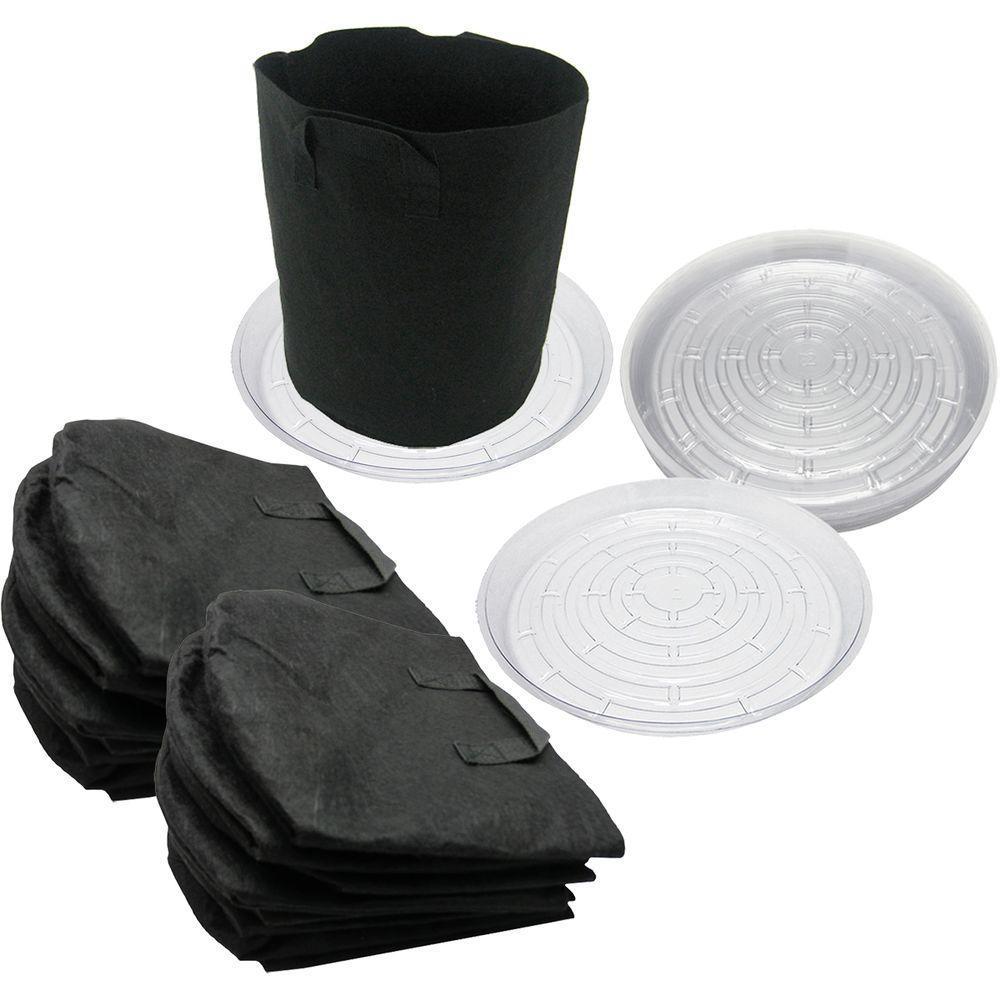 3 Gal Fabric Pots With Saucers 10 Pack