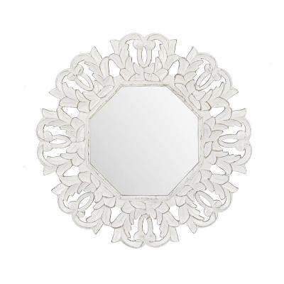 Tull White Carved Octagonal Mirror
