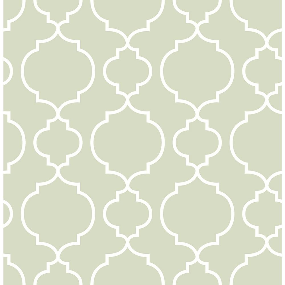 A-Street Desiree Sage Quatrefoil Wallpaper-2657-22258 ...