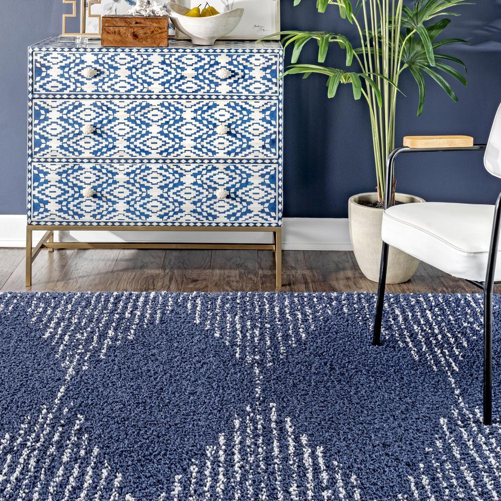 Nuloom Bria Moroccan Diamond Shag Blue 5 Ft X 8 Ft Area Rug Gcdi09c 53077 The Home Depot