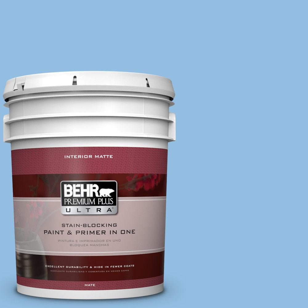 BEHR Premium Plus Ultra 5 gal. #P520-3 Toile Blue Matte Interior Paint