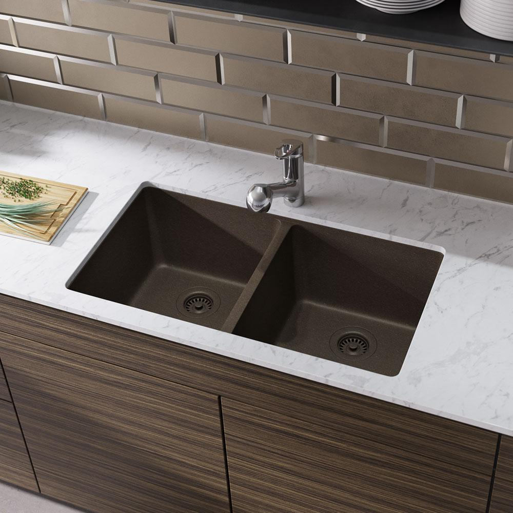 Rene Undermount Composite Granite 32-1/2 in. Double Bowl Kitchen Sink in  Umber