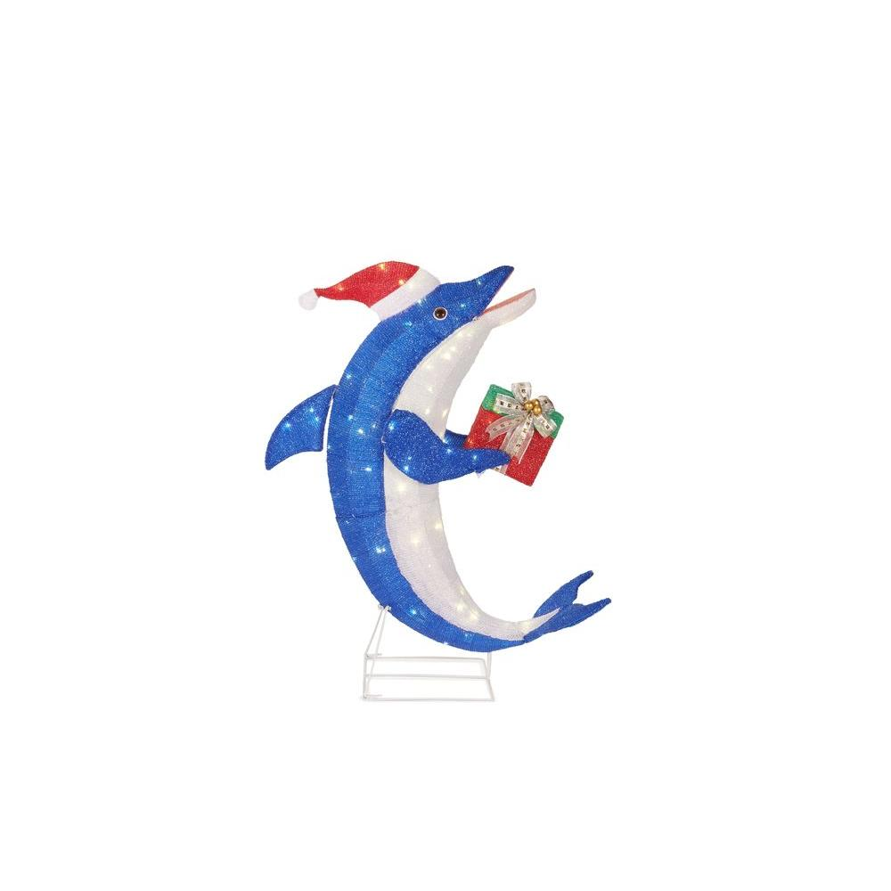 Home Accents Holiday 36 in. Pre-Lit Dolphin with Gift-TY467-1214 ...