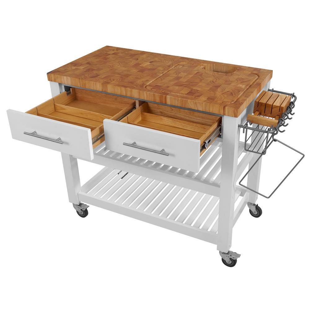 Chris Pro Chef White Kitchen Cart