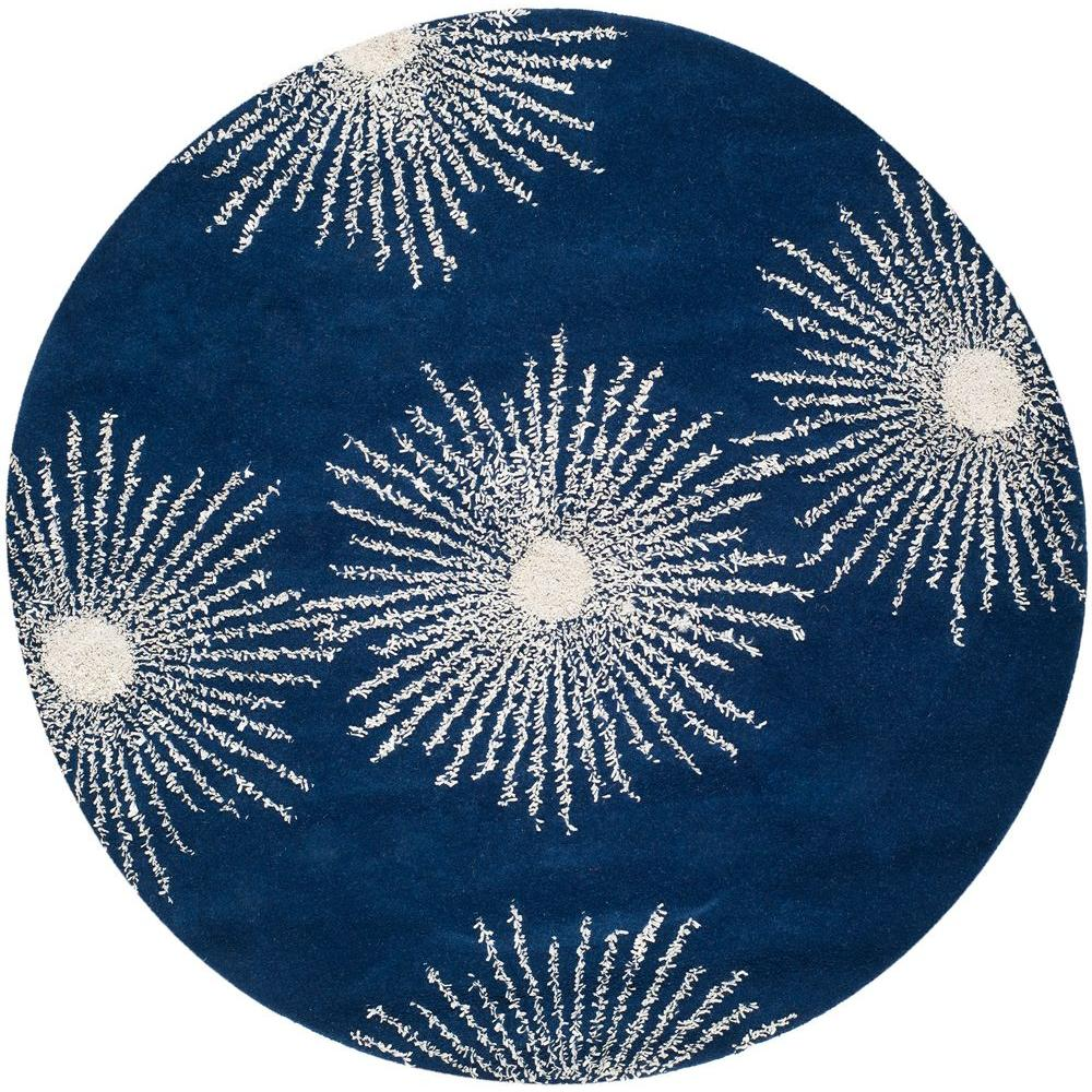 Soho Dark Blue/Ivory 6 ft. x 6 ft. Round Area Rug