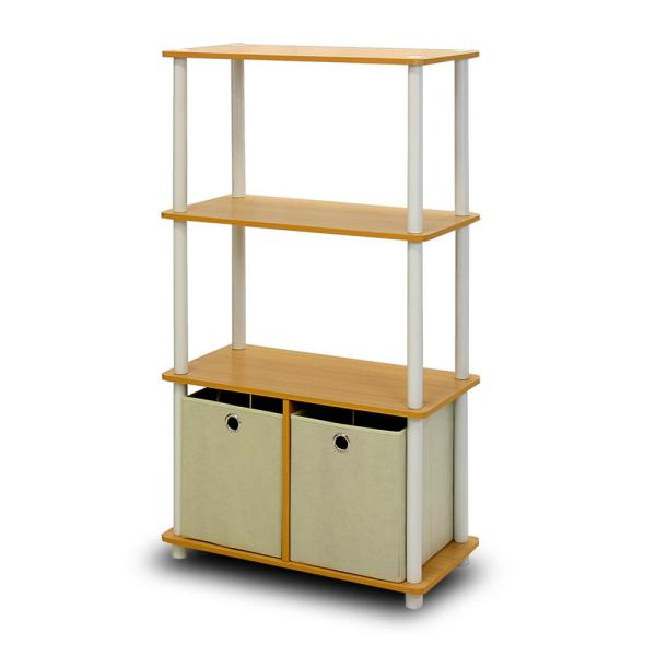 Furinno Go Green 4-Shelf Beech Color Open Bookcase with Bins NW889BE/WH/IV