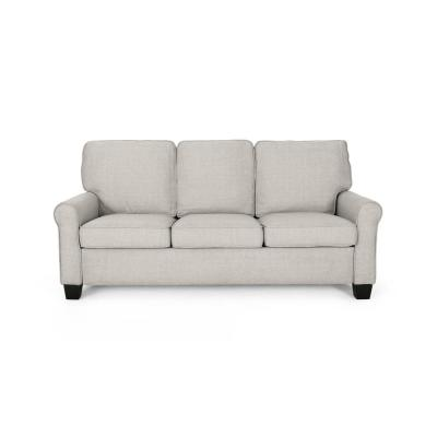 75.5 in. Beige/Dark Brown Polyester 3-Seater Lawson Sofa with Round Arms
