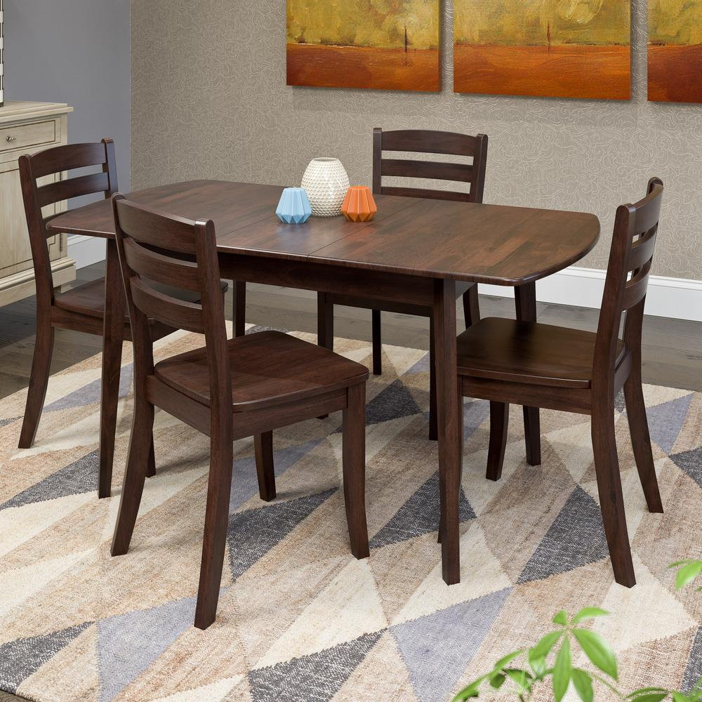 Hardwood Dining Set: CorLiving Bistro 5-Piece Cappuccino And Pewter Grey Dining