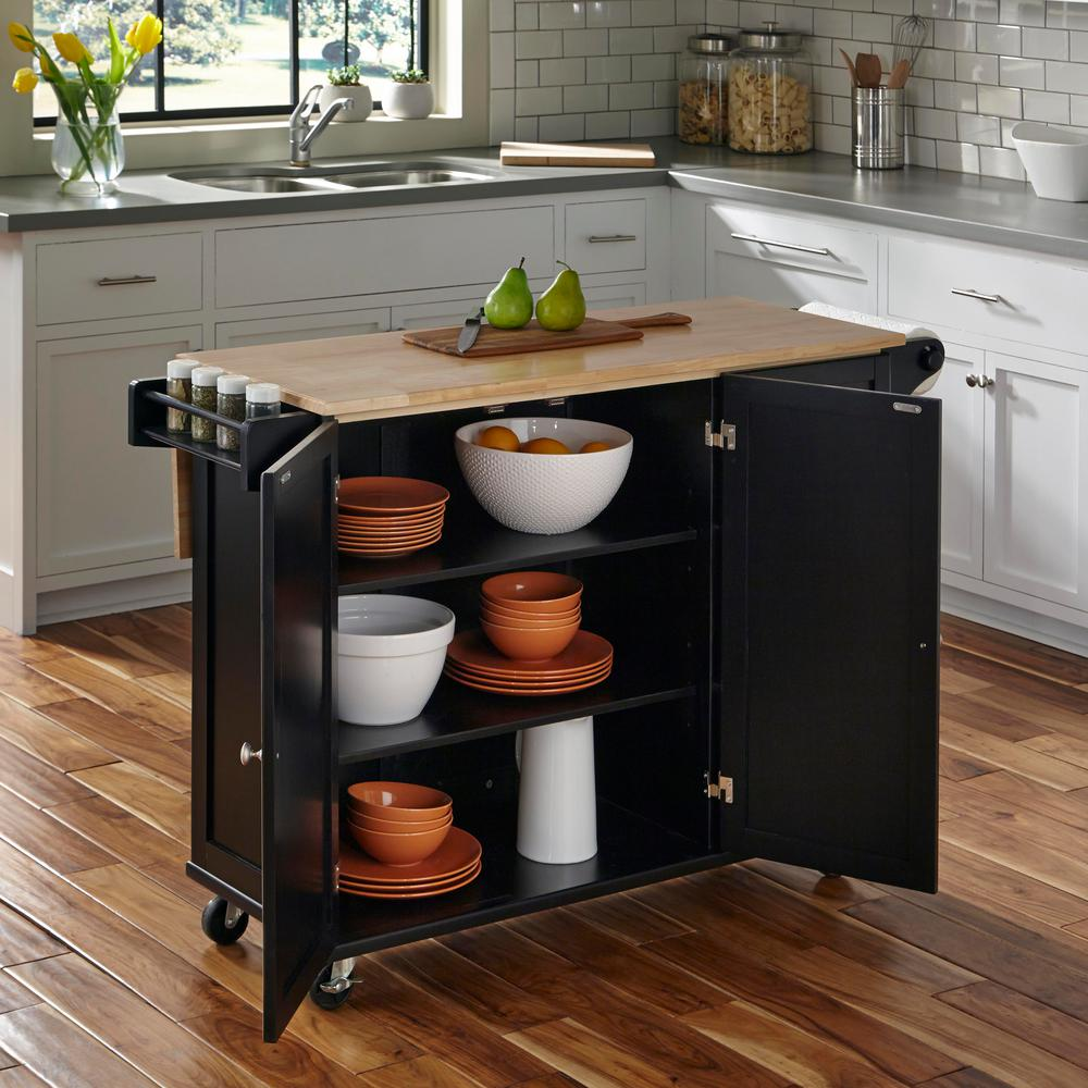 Dolly Madison Liberty Black Kitchen Cart 4510 95 The Home Depot