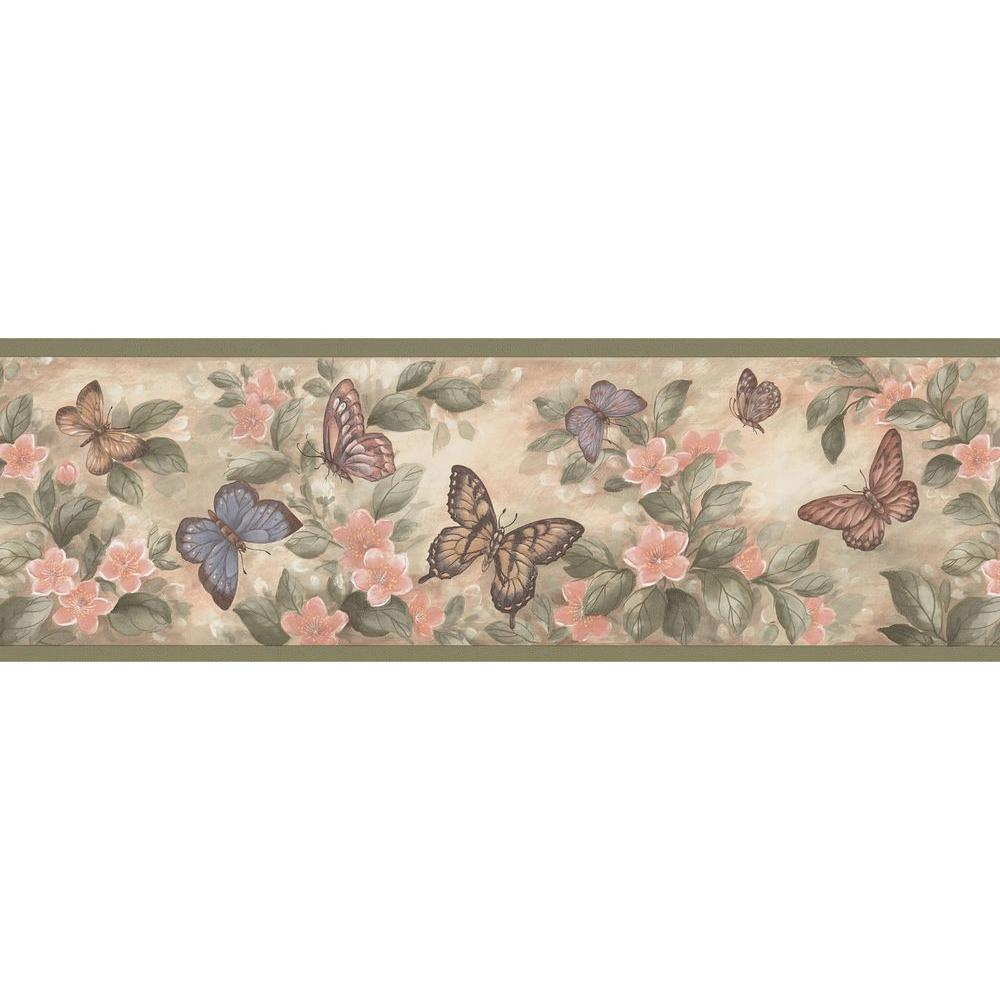 Brewster pastel butterflies wallpaper border sample for Zebra print and red bathroom ideas