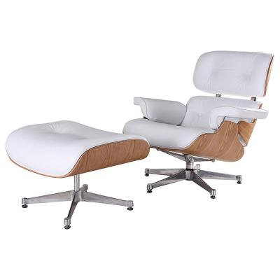White Leather Swivel Lounge Arm Chair with Ottoman Set