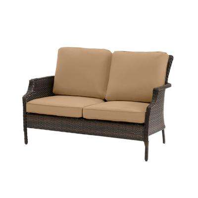 Grayson Brown Wicker Outdoor Patio Loveseat with CushionGuard Toffee Tan Cushions