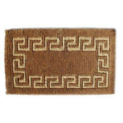 Traditional Coir Mat, Greek Key, 39 in. x 24 in. Natural Coconut Husk Doormat