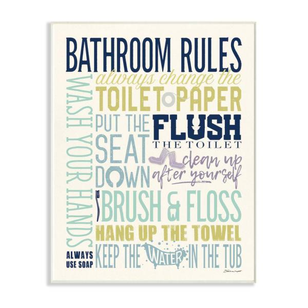 The Stupell Home Decor Collection 10 In X 15 In Bathroom Rules Aqua Blue Green And Purple Colorful Typography By Stephanie Marrott Wall Plaque Art Wrp 1316 Wd 10x15 The Home Depot