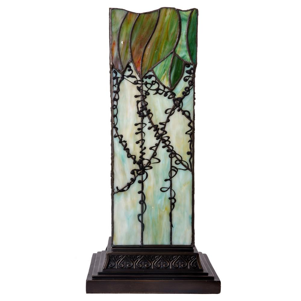 River of Goods 17 in. Green Table Lamp with Stained Glass Lavish Vine Hurricane Shade