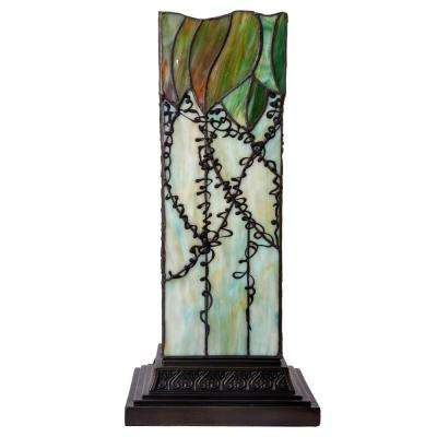 17 in. Green Table Lamp with Stained Glass Lavish Vine Hurricane Shade