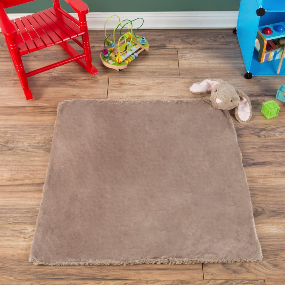Plush Bunny Buddy Gray Baby Blanket